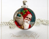 Santa Necklace Pendant Jewelry Image Vintage Art Jewelry Christmas Holiday 0505SC