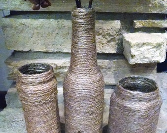 Recycled Jute Wrapped Vases