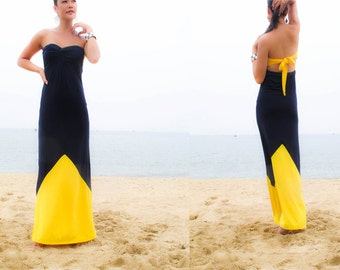 Color Block  Navy blue Yellow Strapless long maxi Sun dress all size
