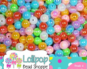8mm AB Acrylic Beads Solid Round Beads Opaque Beads Iridescent Plastic Beads Colorful Mixed Rainbow Bubblegum Beads Bottle Cap Beads