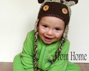 Moose/Reindeer Crochet Earflap Hat - Baby, Toddler, Child, Adult - Animal, Costume, Prop