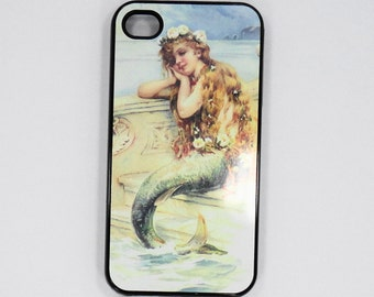 Iphone 6 iphone 5 iphone 4  Little Mermaid  vintage art Samsung Ipod case mobile cell Phone case cover cell phone snap case black blue