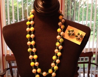 Vintage Green Yellow Cascading Necklace and Earring Set