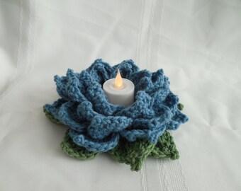 Dusky Blue Rose votive candle holder