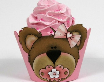 Baby shower cupcake wrapper, bear baby shower cupcake wrapper, bear, pink, baby shower