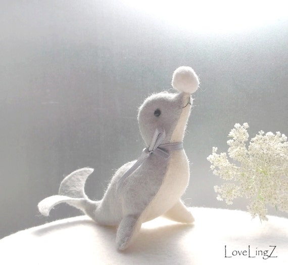 Sweet Seal, blue felt dolphin, adorable  handstitched artist plushie