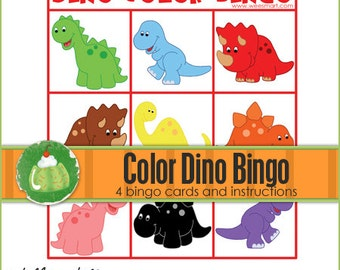 DINO Color Match BINGO - Downloadable PDF Only