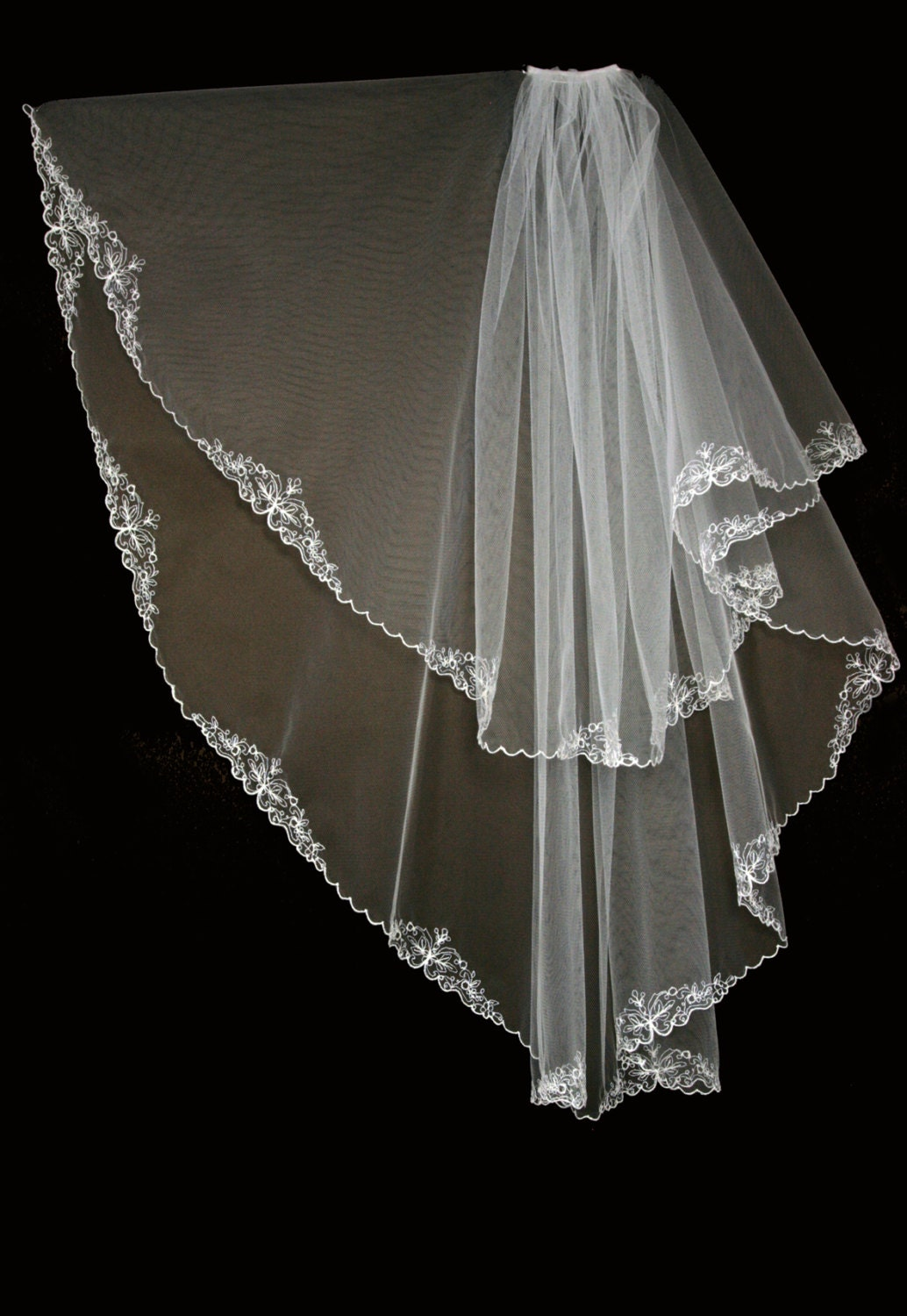 Bridal veil sloane wedding with embroidery by