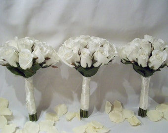 Desiree's Bridesmaids Bouquets with Closed Off White Roses