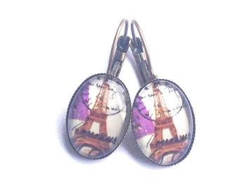 Paris purple earrings with Eiffel tower
