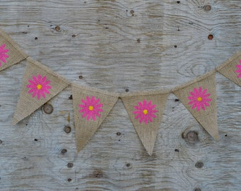 Spring Daisy Flower Banner - Rustic Spring Banner - Spring Burlap Banner - Burlap Banner