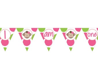 DIY - Girl Mod Monkey Birthday High Chair  Banner- Coordinating Items Available