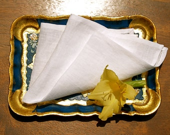 Snowy White Linen Pocket Square/Handkerchief