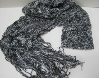 Knitted Scarf  Long  Black Gray With Silver Winter Accessories Holiday Fashion Scarves Woman Teens Gift Idea