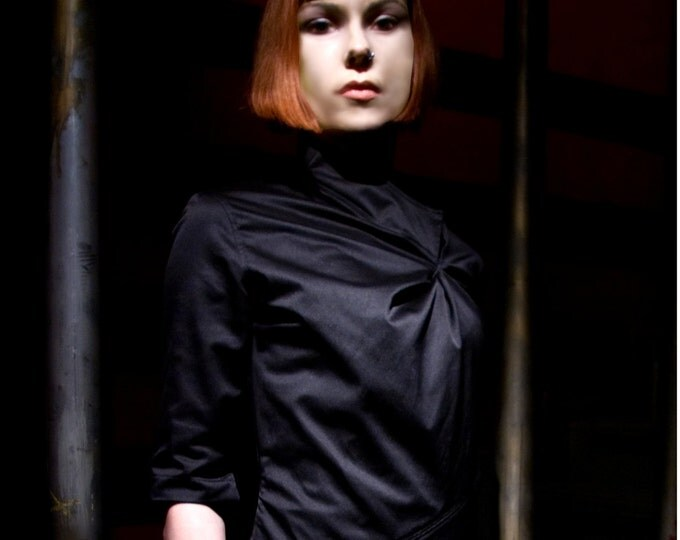 Asymmetrical cotton blouse made from black satin,  three quarter lenght sleeves gathering details