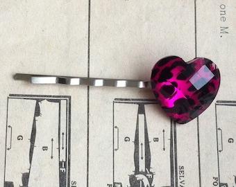 Pink Leopard Print Heart Hair Clip