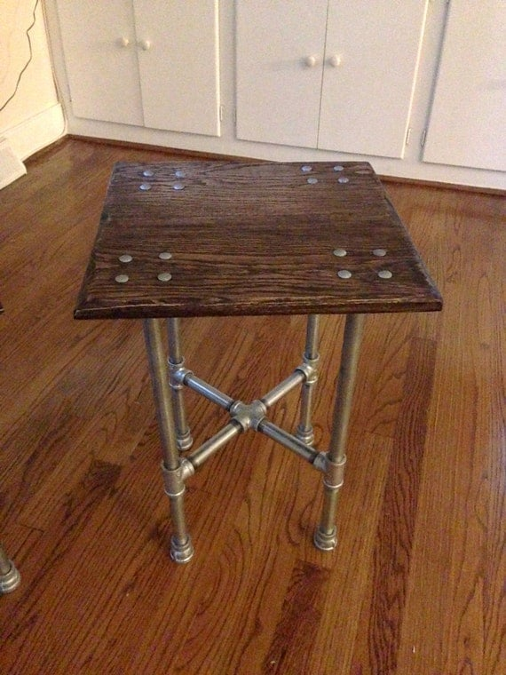 Items Similar To Oak Industrial Iron Pipe End Table On Etsy
