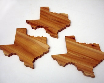 Solid wood Texas drink coasters (set of 4)