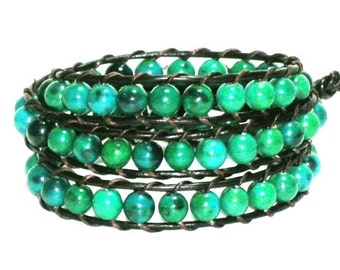 Green Stone Bead Wrap Bracelet, Stone Wrap Bracelet, 3 Wraps Bracelet