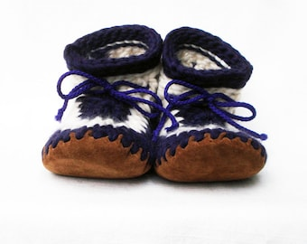 FUNKY CROCHETED SLIPPERS with Leather Soles by Muffle-Up! Style: Violetta. For Women Knitted Wool Slippers Women House Shoes