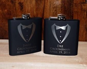 6 engraved Flasks, Groomsmen flask, Best man flask, Custom engraved 6oz flask., flask, personalized flask, Tuxedo