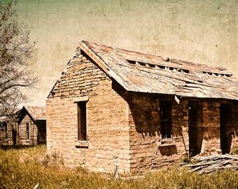 Fine Art Photography, stone bunkhouse, homestead, architecture, rustic, primitive, Country Home Decor, Fine Art Print