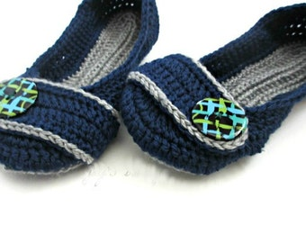 Women's Crochet Slippers - Button Slippers - Womens sizes 5 6 7 8 9 10 - navy blue and gray mist