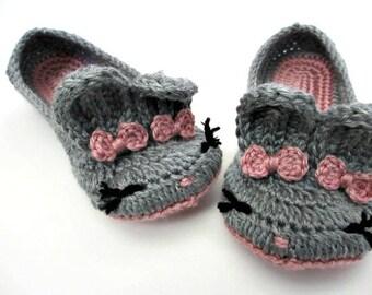 Women's Bunny Slippers Crochet Bunny Ears Easter Gift Womens sizes 4 5 6 7 8 9 10 gray mist orchid