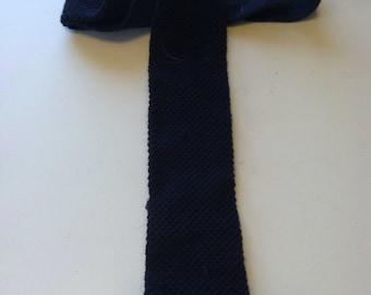 Vintage Navy Private Club knit skinny tie