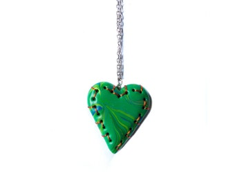 Polymer clay necklace Heart necklace Green necklace Wire necklace Valentines Day Spring necklace One of a kind necklace Pastel necklace