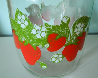 Strawberry Graphic Carlton Glass 1.5L Vintage Storage Jay