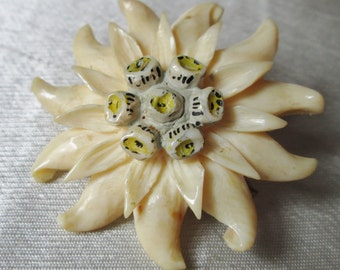 1950s FAUX IVORY BROOCH,Unsigned Plastic Flower Brooch.  Anniversary Gift, Collectible