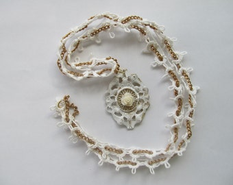 Necklace White Rose Pendant & Vintage Tatted Lace