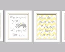 Nursery Quad, Yellow and Gray Nursery, Elephant Nursery, Set of 4 8X10, Yellow, Gray, Nursery Poem, Choose your colors