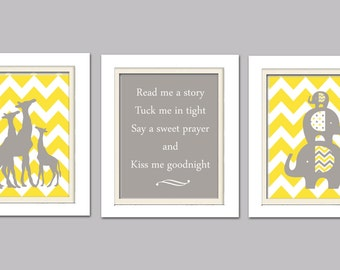 Nursery Trio, Yellow and Gray Nursery, Elephant and Giraffe Nursery, Set of 3 8X10, Yellow, Grey
