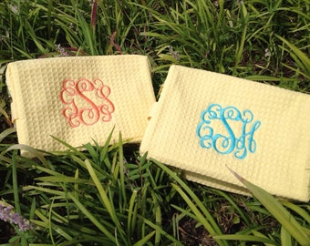 Monogrammed Waffle Weave Cosmetic Bag- Great for Weddings, Brides, Graduation, College, Traveling and Much More