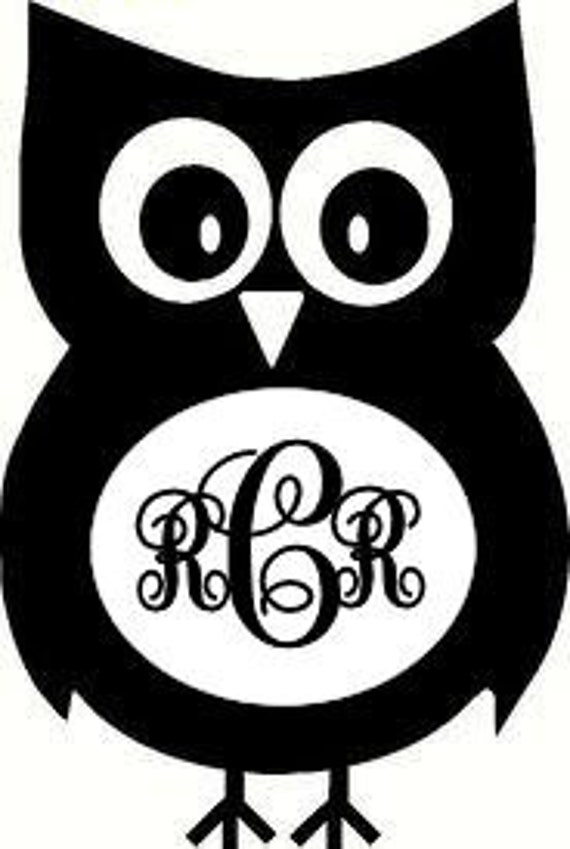 monogrammed owl vinyl car decal