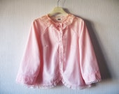 Vintage Babydoll Bed Jacket Pale Pink Nylon Lace Collar - VintageDreamBox