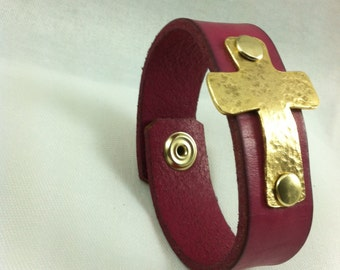 Pink Leather and Cross Cuff Bracelet