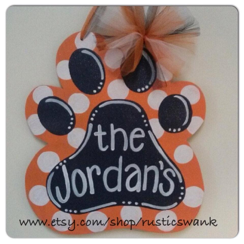 Auburn Tiger Paw Wooden Door Hanger