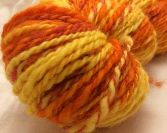 Handspun Wool Yarn, 2-ply, Orange/Yellow/Red, Heavy Worsted, Approx 165 Yards
