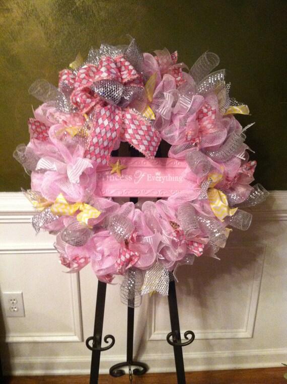 large mesh wreath baby shower hospital door nursery pink gray white