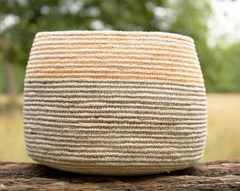 Orange & Brown Cotton Sash Cord Basket