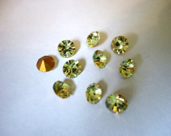 Vintage Glass Round Jonquil Yellow colour foiled rhinestone chatons approx 5mm - Austrian-10 pieces.