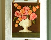 Cottage Bouquet in Ironstone Vase - Fine Art PRINT of Acrylic Painting - Cottage Chic Farmhouse Decor