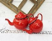 Vintage red teapot pair, Set of 2,Enamel teapot,Kettle,Retro home decor,Kitchen decor,Red coffee pot,Cottage chic,Rustic,Old teapot set,