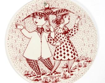 Bjorn wiinblad plate, Wiinblad plate, Gift her, APRIL platte, Denmark faience danish paradis, Vintage retro wall decor, Birthday nymolle red