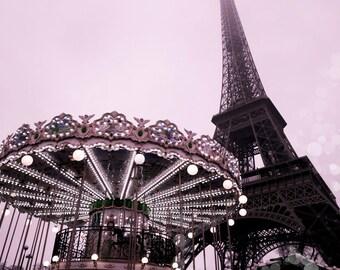 Paris Photography, Eiffel Tower, Romantic Photo, Paris Pink, Pink Carousel, Paris Carousel, Paris Art, Paris Fantasy, Paris Art, Paris Decor
