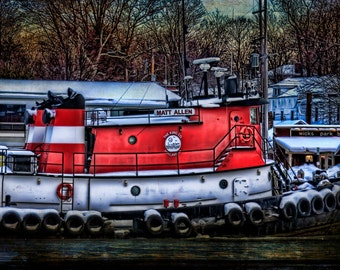 Michigan Photography,Michigan Art, Tugboat Photography,Beach Print,Saugatuck Michigan,Red Boat,Saugatuck,Red Wall Decor, Nautical Art