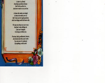 "Bookmark - ""What Is A Sister"" Poem on ""Memories"" Background"